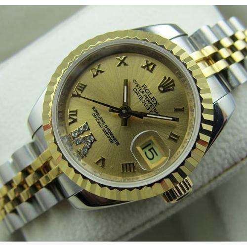 瑞士名表 劳力士ROLEX18K包金 间金钢带全自动机械手表 男士手表 瑞士机芯