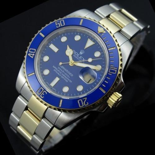 瑞士劳力士ROLEX男表蓝水鬼 潜行者男士全钢全自动机械手表 18K包金蓝面