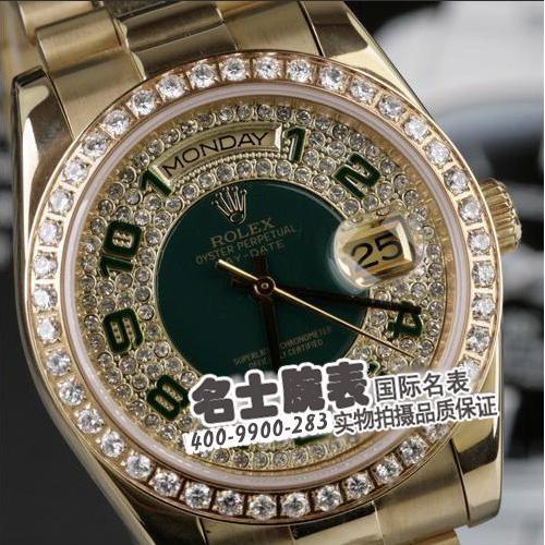 劳力士Rolex 星期日历系列118348密镶钻石 机械男表 炫金满钻