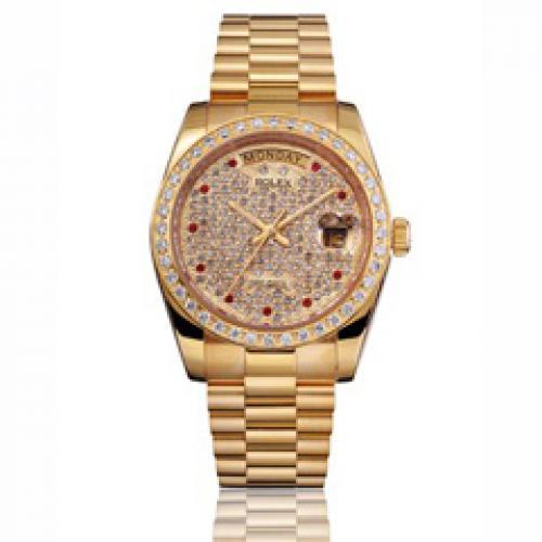 劳力士Rolex 星期日历系列 机械男表 全金镶钻满天星