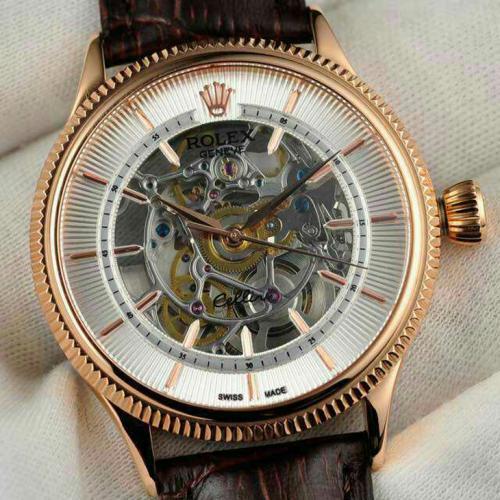 劳力士(ROLEX)切利尼系列(7种款式)18K玫瑰金 男士缕空自动机械表手表 高端男士腕表