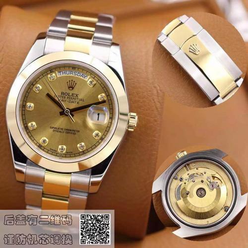 劳力士(ROLEX)星期日历型 间金镶钻 金盘 18K金 男士自动机械表手表 高端男士腕表