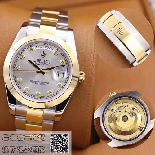 劳力士(ROLEX)星期日历型 间金镶钻 18K金 男士自动机械表手表 高端男士腕表