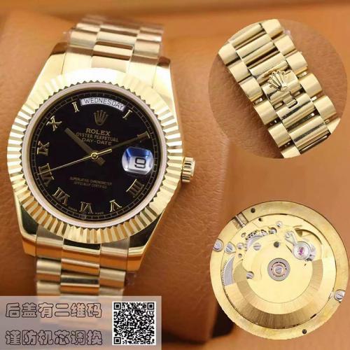 劳力士(ROLEX)星期日历型系列218238 罗马刻度 黑色表盘 18K金  男士自动机械表手表