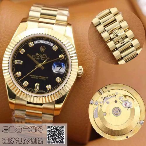 劳力士(ROLEX)星期日历型系列118238黑盘镶钻 18K金  男士自动机械表手表