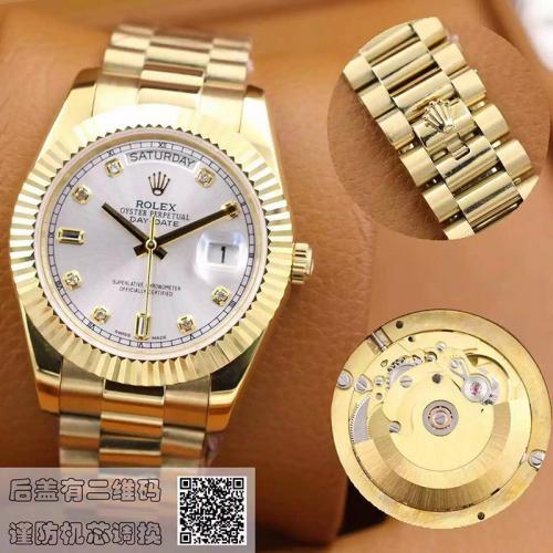 劳力士(ROLEX)星期日历型 118238银盘镶钻 18K金  男士自动机械表手表