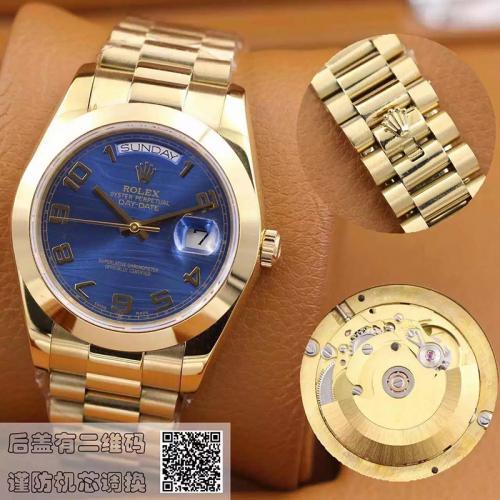 劳力士(ROLEX)星期日历型 118208蓝面 18K金  男士自动机械表手表
