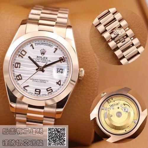 劳力士(ROLEX)星期日历型118205 白盘 18K玫瑰金  男士自动机械表手表