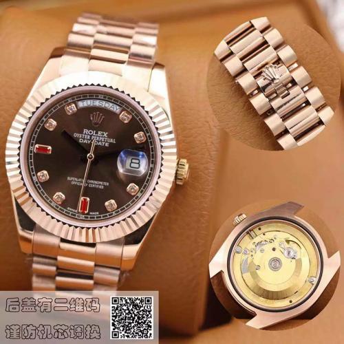 劳力士(ROLEX)星期日历型118235巧克力色镶有钻石及红宝石 18K玫瑰金  男士自动机械表手表
