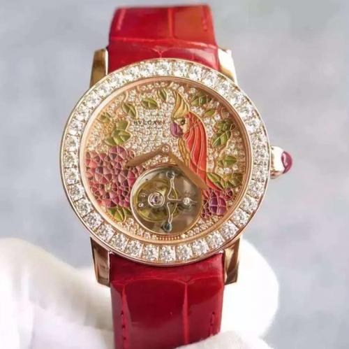 高仿宝格丽女士镶砖手表 TF宝格丽玫瑰金镶钻真陀飞轮 女表