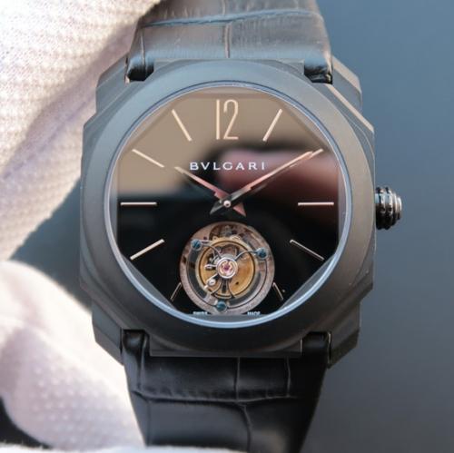 TF宝格丽全新OCTO系列102560腕表,搭载手动海鸥真陀飞轮机械机芯,40毫米直径,意大利牛皮表带,蓝宝石镜面,顶级CNC打磨,又大牌又时尚款式,值得拥有。男士手表,透底