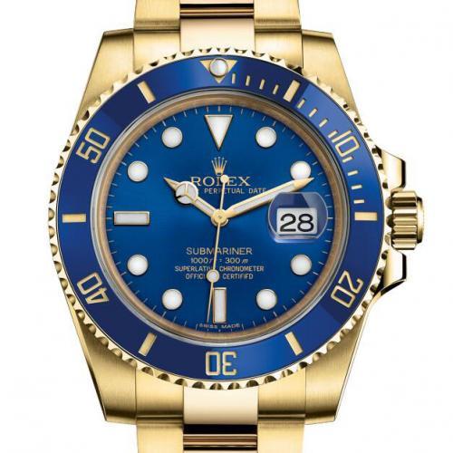 劳力士ROLEX潜行者系列116618LB-97208蓝盘男表 18K金 自动机械男士手表