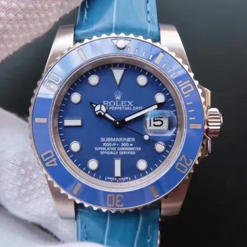 劳力士116619LB N厂劳力士SUB潜航者系列116619LB蓝水鬼蓝鬼v7版顶级鳄鱼皮款(送一副原装钢带) 高仿劳力士116619LB 机械男表