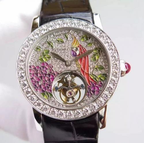 宝格丽1比1手表 TF宝格丽凹镜女款 陀飞轮满钻珐琅表盘立体鹦鹉搭载手动复古偏心陀飞轮