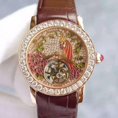 宝格丽手表a货 宝格丽玫瑰金镶钻真陀飞轮 女表