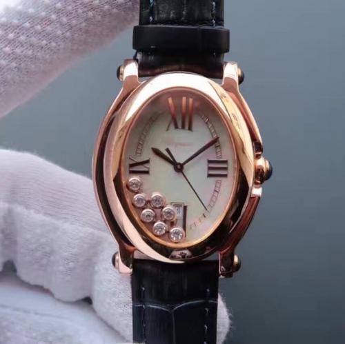 高仿萧邦快乐钻石 KG高仿萧邦钢带经典HAPPYDIAMONDS系列腕表,原装开模一比一 女表