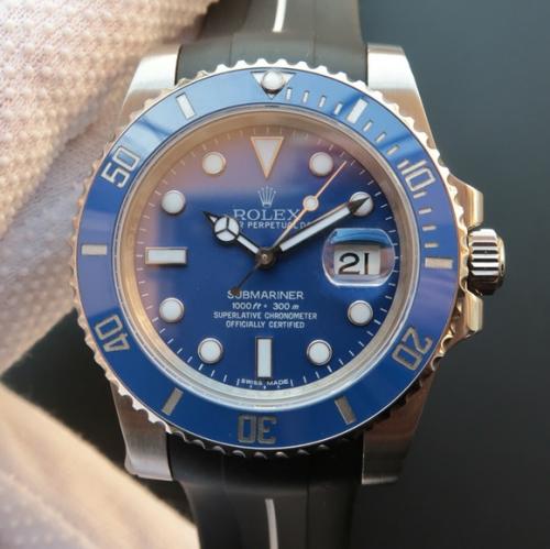 劳力士水鬼高仿手表 N劳力士SUB潜航者系列116619LB蓝水鬼蓝鬼v7版胶带款(送一副原装钢带) 机械男表