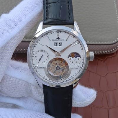 积家陀飞轮高仿手表 LH复刻积家大师系列大日历复杂功能真陀飞轮腕表 白盘 手动机械男士手表
