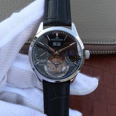 高仿真积家陀飞轮机械表 LH复刻积家大师系列大日历复杂功能真陀飞轮腕表 黑盘 手动机械男士手表