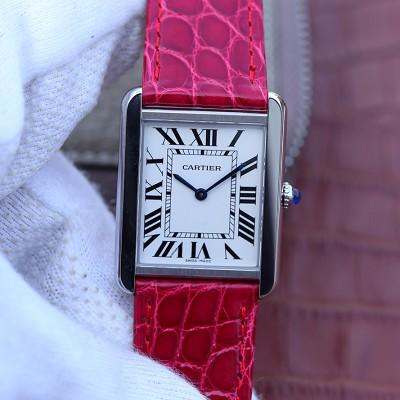 卡地亚坦克女表多色皮带 石英女士手表
