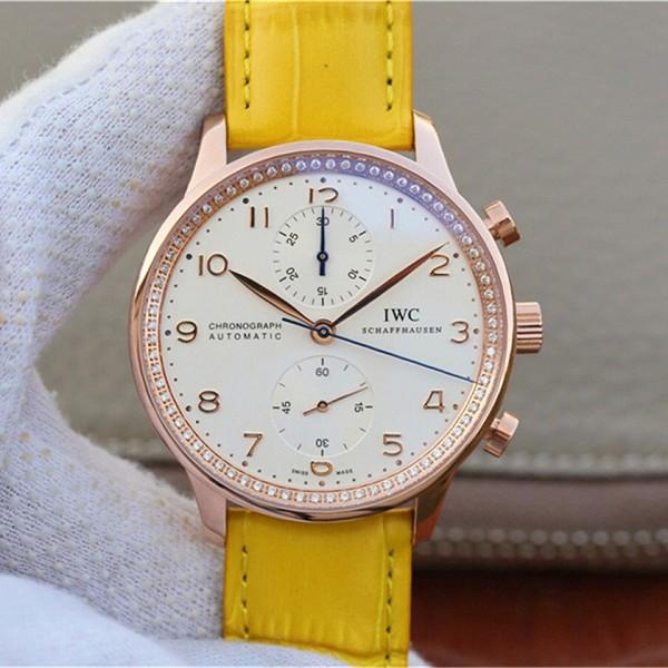 万国机械表 精仿复刻万国葡萄牙系列 真皮彩带女士手表
