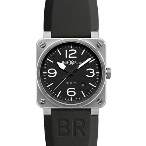 一比一高仿柏莱士AVIATION系列BR 03-92 STEEL 黑色表带 男士机械表