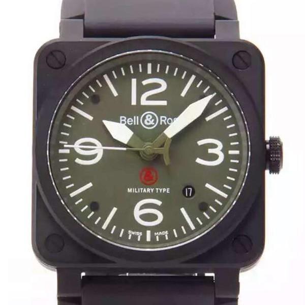 一比一精仿新款柏莱士AVIATION系列BR03-92 男士黑色方型表 黑壳绿盘白针