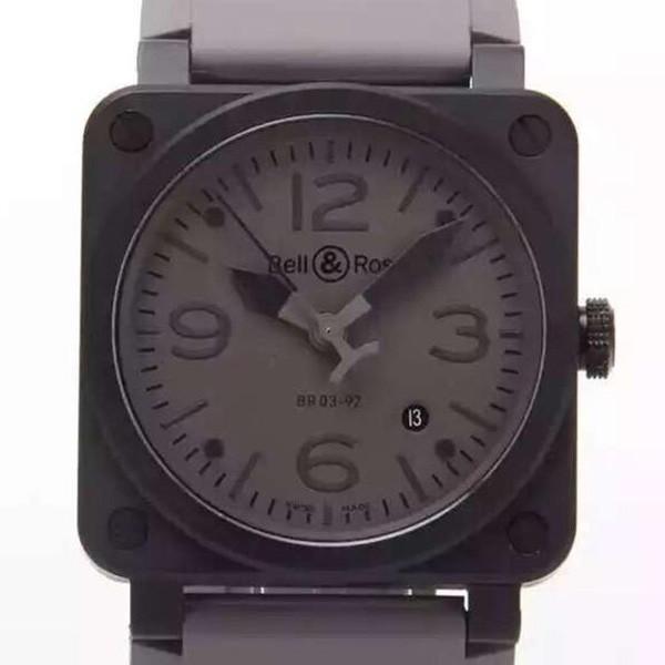 精仿复刻新款柏莱士AVIATION系列BR03-92 男士黑色方型表 黑壳浅灰盘