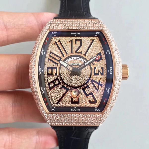 仿法兰克穆勒手表 精仿最新款Vanguard腕表 V45系列玫瑰金  男士机械表