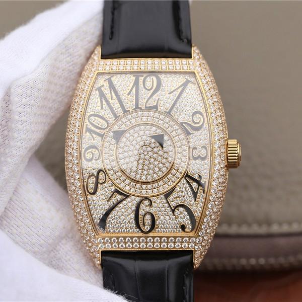 精仿法兰克穆勒神秘时间系列7850款 黄金镶钻男士腕表