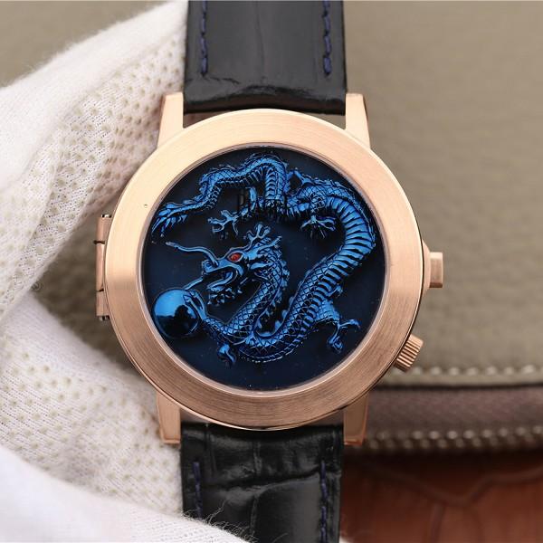 一比一高仿伯爵男装表 高仿伯爵ALTIPLANO系列G0A34175腕表 玫瑰金蓝盘