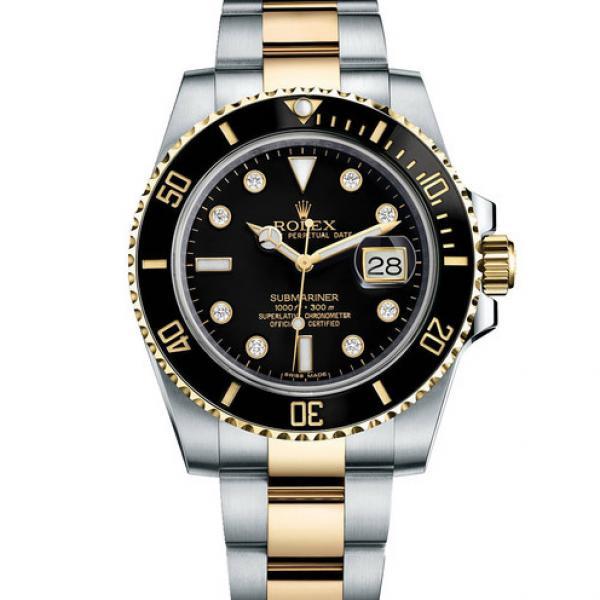 劳力士ROLEX潜行者系列116613-LN-97203 8DI黑盘男表 18K金 刻度镶钻  自动机械男士手表
