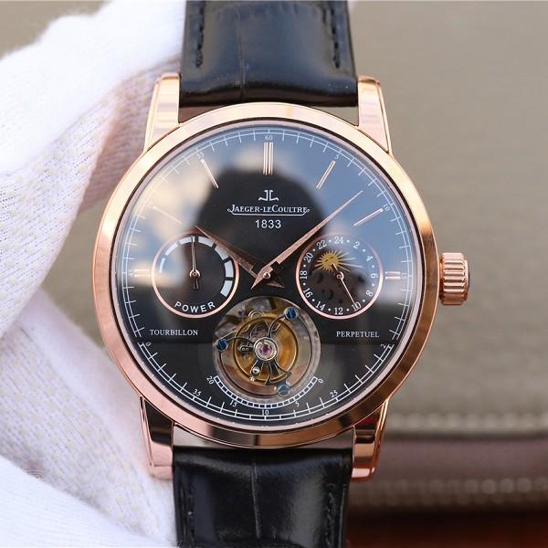 高仿积家大师系列复杂功能真陀飞轮腕表 玫瑰金黑面男士手表