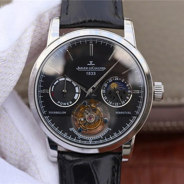 精仿复刻积家大师系列复杂功能真陀飞轮腕表 白金黑面男士手表
