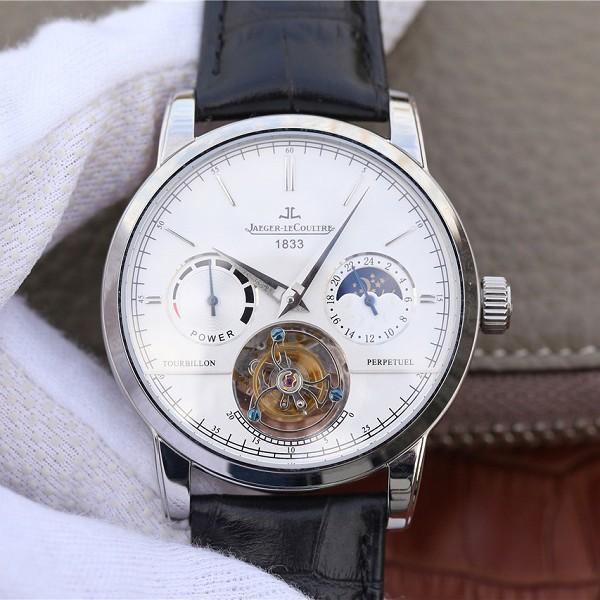 顶级高仿积家大师系列复杂功能真陀飞轮腕表 白盘男士手表
