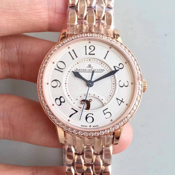 2017年新款积家约会系列仿 精仿复刻积家约会系列18K玫瑰金表圈镶钻 男女款机械手表