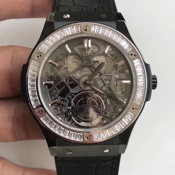 高仿宇舶手表图与价格 高仿复刻宇舶经典融合系列 潮流男士闪亮T钻机械腕表
