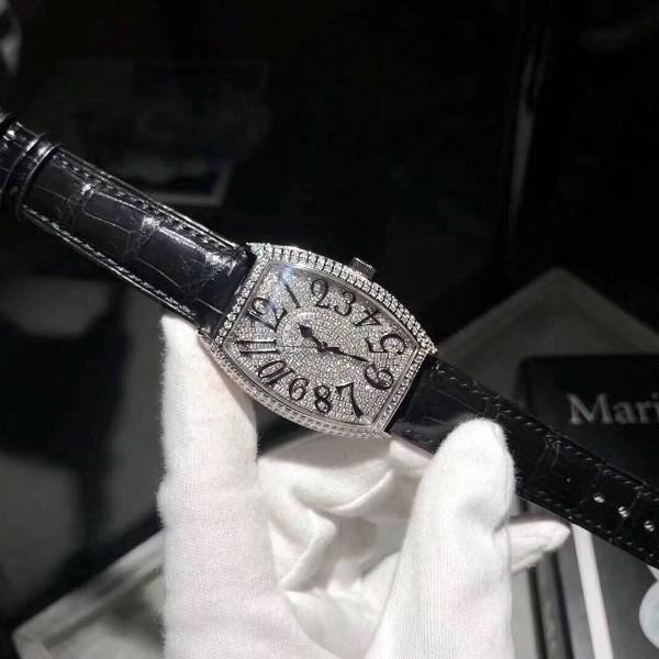 法兰克穆勒女表高仿 高仿复刻法朗克慕勒18K白金镶钻机械女表 黑色表带