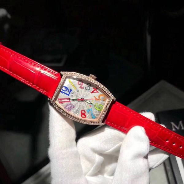 高仿法兰克穆勒手表价格 高仿法朗克慕勒玫瑰金镶钻 女士机械手表