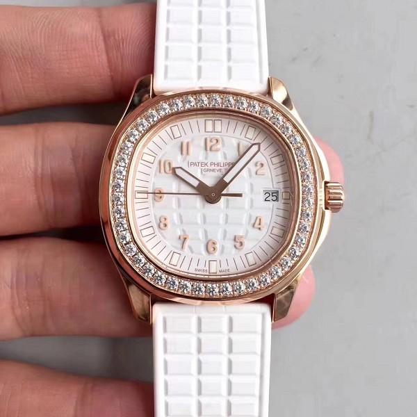 百达翡丽手表复刻高仿 高仿百达翡丽AQUANAUT系列5067A-024 玫瑰金镶钻石英女表