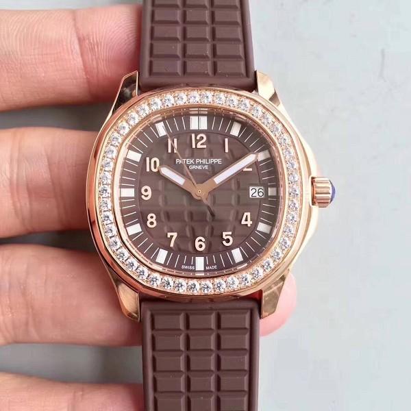 高仿表百达翡丽 高仿百达翡丽AQUANAUT系列5067A-023 玫瑰金镶钻石英女表