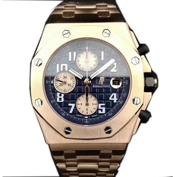 精仿爱彼手表价格 高仿爱彼皇家橡树系列玫瑰金黑盘 男士机械表