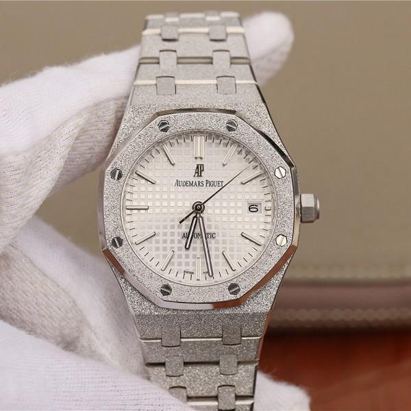 精仿爱彼手表价格 高仿仿爱彼皇家橡树系列霜金15454BC.GG.1259BC.01 白盘男士机械表