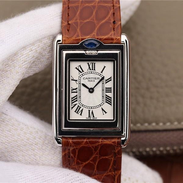 一比一精仿卡地亚 精仿复刻卡地亚Tank Reversible系列棕色表带 中性手表