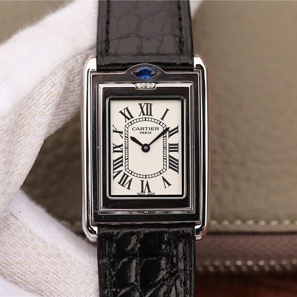 仿卡地亚价格及图片 高仿复刻卡地亚Tank Reversible系列黑色表带 中性手表