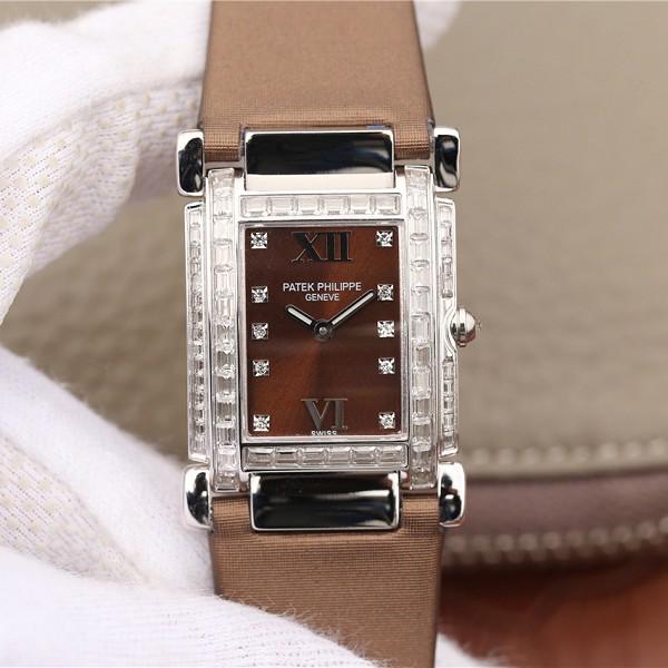 高仿百达翡丽手表图片价格 高仿复刻百达翡丽Twenty~4系列方形表盘 石英女士腕表