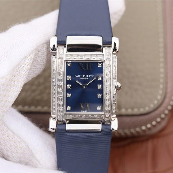 百达翡丽高仿表价格 高仿复刻百达翡丽Twenty~4系列方形表盘 石英女士腕表