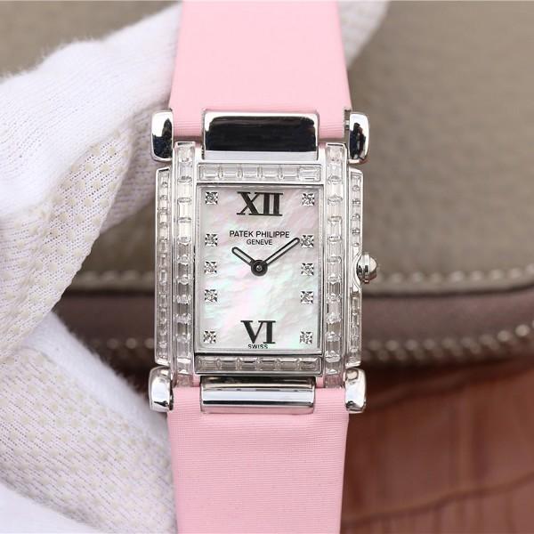 高仿名表百达翡丽女表 高仿复刻百达翡丽Twenty~4系列方形表盘 粉色表带石英女士腕表