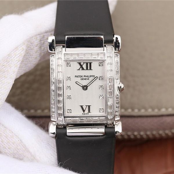 百达翡丽超a精仿手表 高仿复刻百达翡丽Twenty~4系列方形表盘 石英女士腕表黑表带