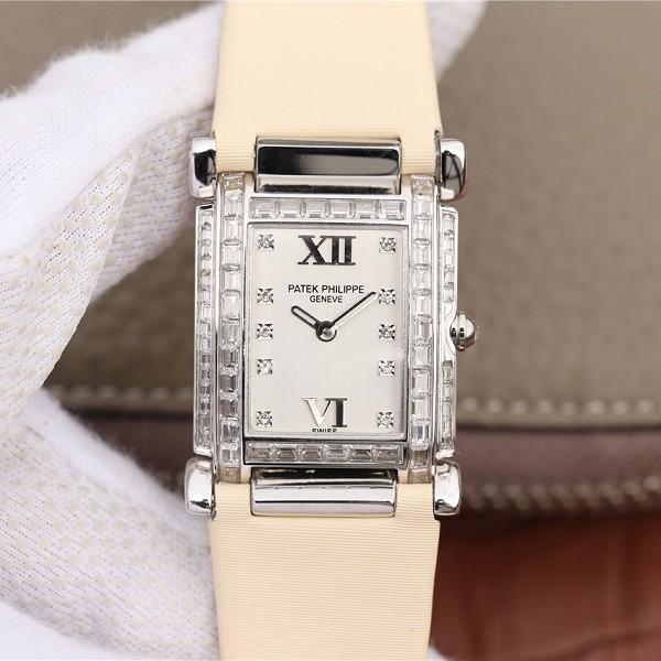 仿18K白金镶钻石英表百达翡丽 高仿复刻百达翡丽Twenty~4系列方形表盘 石英女士腕表